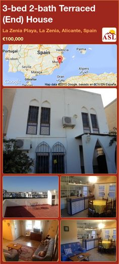 Terraced (End) House for Sale in La Zenia Playa, La Zenia, Alicante, Spain with 3 bedrooms, 2 bathrooms - A Spanish Life American Kitchen, Corner House, Alicante Spain, Seville, Malaga, Lisbon, Beautiful Beaches, Valencia, Terrace