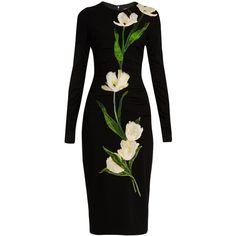Dolce & Gabbana Tulip-appliqué wool-blend dress (314.460 RUB) ❤ liked on Polyvore featuring dresses, vestido, black multi, tulip dresses, figure hugging dress, form fitting dresses, dolce gabbana dress and rouched dress