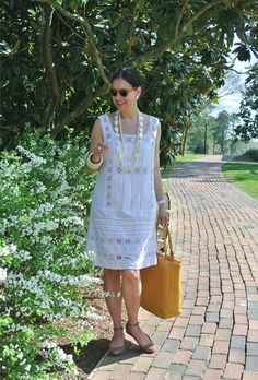 April 30, 2013 http://www.akeytothearmoire.com/post/49251043790/white-lace #white #lace #yellow #mother of pearl #braid #headband #yellow sunglasses #gold flats #ankle strap #Lucky Brand #boho chic #antique ivory bangles #Frye #Cole Haan #Ralph Lauren #feminine #classic #elegant #vacation #shift dress #Williamsburg