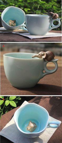 Porcelain Coffee Mug with Elephant