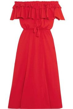 J.Crew - Poppy Off-the-shoulder Ruffled Cotton And Linen-blend Dress - Red - xx small