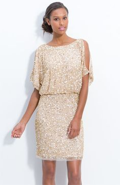 Aidan Mattox Bloused Cold Shoulder Sequin Dress - New Years?