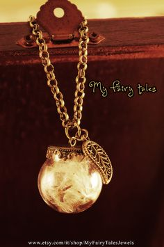 Necklace Glass Globe with Leaf Charm