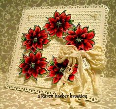 CC399 - POPPING POINTSETTIAS by Karen B Barber - Cards and Paper Crafts at Splitcoaststampers