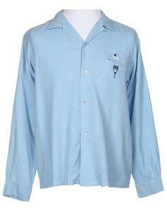 50s Blue Rayon Shirt - XXL