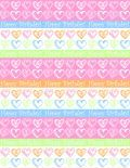 """Free small hearts and stripes """"Happy Birthday"""" scrapbook paper design -- white background"""