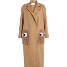 Anya Hindmarch Ghosts Virgin Wool Coat ($1,930) ❤ liked on Polyvore featuring outerwear, coats, camel, beige coat, camel coat, anya hindmarch, oversized camel coat and oversized coat
