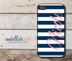 iPhone 4 Case, nautical iPhone 4 case, monogram iPhone 4s case, navy & coral striped with initials - 290