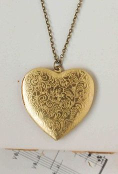 White and Gold Wedding Statement Necklace. Gold Heart Locket. Large Gold HEART Locket Pendant Vintage Style by redtruckdesigns