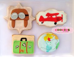 Airplane Vintage Themed Cookies for birthday Boy