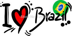 I Love Brazil Brasil Football Word Cup Vinly Wall Stickers PVC Decor Removable DIY Table Art Wallpaper Room House