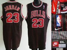 Bulls #23 Michael Jordan Stitched Black Red Strip NBA Jersey