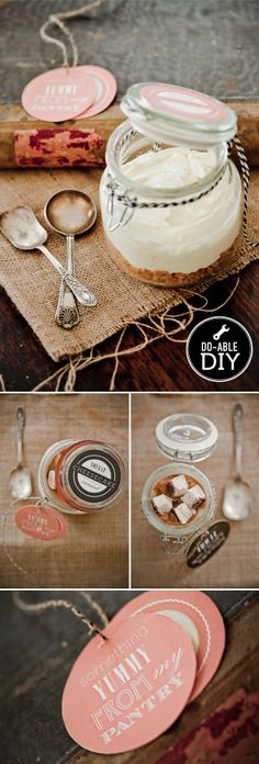 17 inexpensive, homemade gift ideas for foodies. Great for any guy who enjoys EATING. homemade gift Caramel Nougat Cheesecake in a Jar Diy Food Gifts, Edible Gifts, Jar Gifts, Homemade Gifts, Craft Gifts, Food Crafts, Pantry Labels, Jar Labels, Kitchen Labels