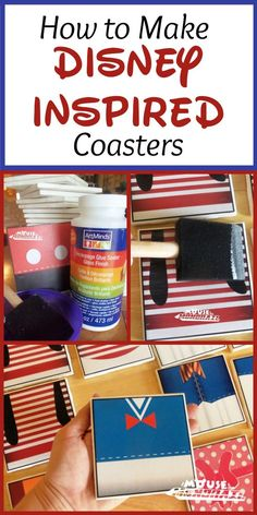 Looking for an easy, Disney inspired DIY? Give our Disney inspired coasters a try! They are fun and simple to make. Great for gifts or Fish Extenders! Disney Cruise Tips, Disney Fun, Disney Stuff, Disney Ideas, Walt Disney, Disney Theme, Disney Diy Crafts, Disney Home Decor, Decoupage