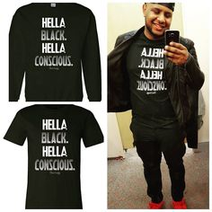 "HELLA BLACK. HELLA CONSCIOUS. AVAILABLE AT http://ift.tt/1cwNr9k USE CODE ""BHM"" AT CHECKOUT FOR 30% OFF #hellablack #blackconsciousness #buyblack"