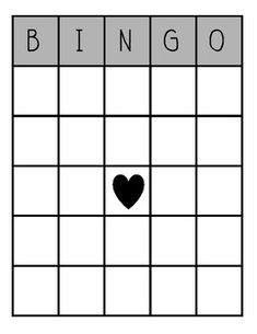 This Is A Blank Bingo Card In Color And BlackLine I Plan To Use