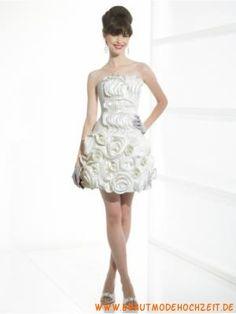 Kurzes süßes Brautkleid aus Satin mit Blumen Trägerlos