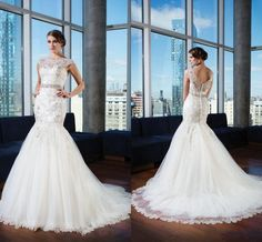 Wholesale Wedding Dresses - Buy Fashion Tulle Mermaid Sexy Wedding Dresses 2014 Hot Selling Jewel Poet Sheer Neck Short Sleeve Applique Lace Beads Sequins Bridal Gowns Sdd, $169.64   DHgate.com