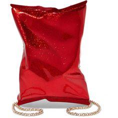 Anya Hindmarch Crisp Packet metallic glittered Perspex shoulder bag (£673) ❤ liked on Polyvore featuring bags, handbags, shoulder bags, red, shoulder hand bags, red shoulder bag, metallic handbags, chain strap shoulder bag and red purse