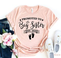 Big Sister T Shirt, Promoted To Big Sister, Sister Shirts, Women's Shirts, Kids Shirts, Sibling Shirts, Pregnancy Shirts, Family Gifts, Sisters