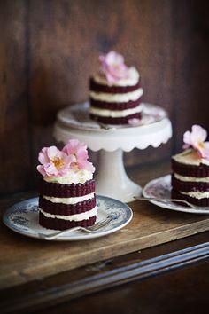 Red velvet mini cakes  Makes 4 small cakes  Ingredients  125g softened butter 250g castor sugar 2 extra-large eggs 200g cake flour 15g cocoa 1tsp baki