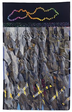 "June Wayne, ""Verdict"" woven tapestry, 119 x 74 in, David Richard Gallery Contemporary Tapestries, Tapestry Weaving, City Photo, Abstract Art, June, Artsy, David, Textiles, Wallpaper"