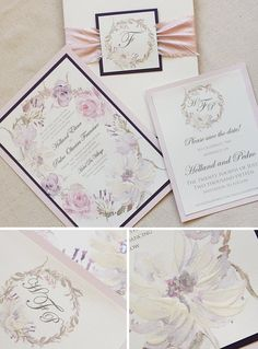 Super sweet pink and purple botanical wreath on this wedding invite, embellished with silk wrap and monogram tag.  What a beauty!  #momentaldesigns  #botanicalinvite  #wreathinvite  #monogrammedinvite  #handpaintedinvite  #kristyrice