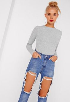 Crew Neck Ribbed Crop Top Grey . Order today & shop it like it's hot at Missguided.