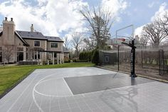 Half basketball court can add on concrete and paint in for Residential basketball court cost