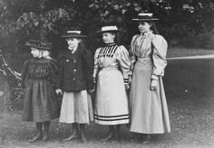 Four princesses: L to R: Princess Victoria Eugenie of Battenberg, Princess Patricia of Connaught, Princess Alice of Albany, and Princess Margaret of Connaught; 1896.