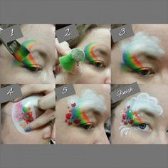 Rainbow, clouds and heart face painting with a split cake. Face Painting Images, Girl Face Painting, Face Painting Tips, Face Painting Tutorials, Face Painting Designs, Painting For Kids, Paint Designs, Rainbow Face Paint, Mime Face Paint