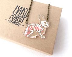 Fluffys not looking so hot....  This necklace features a rabbit skeleton and internal organs (complete with carrots in the stomach) floating