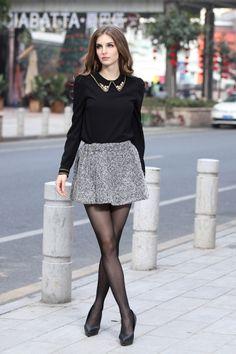 Black Blouse with Studded Collar Tips, Grey Mini Skirt, Sheer Stockings, Black Heels // modeling