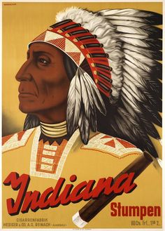 """Johannes HANDSCHIN – Vintage poster – Beautiful Indian chief for the Swiss company """"Indiana cigars"""" A Swiss object poster (Sachplakat) by Hans Handschin finely printed in stone-lithography, in almost perfect condition Cigar Store Indian, Poster Colour, Almost Perfect, Vintage Posters, Indiana, Native American, Black And White, Artist, Prints"""
