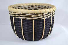 Black and White Round Handmade Basket via Etsy.