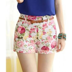 Stylish Floral Print Mid-Waisted Slimming Polyester Shorts For Women (With Belt) Skinny Dippin, Floral Shorts, Vintage Cotton, Hot Pants, Dress To Impress, Chiffon Tops, Short Dresses, Pants For Women, Floral Prints