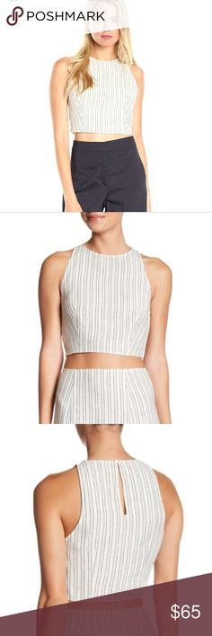 NWT Theory Nikayla Linen Narrow Striped Crop Top L Brand new with tags! Theory Nikayla Narrow Striped Crop Top. Simple yet Stunning white and blue striped linen top. Perfect for this upcoming summer. Size large. Keyhole in back with clasp closure. Hidden zip on side. Theory Tops Crop Tops
