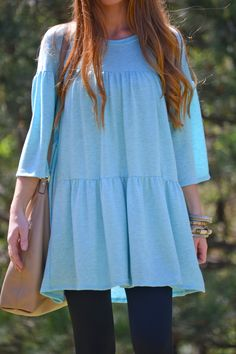A tunic for the fashion gal on the go! This tunic has a bohemian flare to it that we can't get enough of! This comes from its relaxed fit, that happens to cover anything you want covered, and the amazing tiered ruffle effect. Fabric is a soft and stretchy rayon-blend.