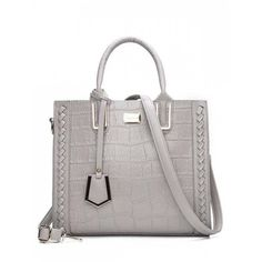 Weave Textured Leather Tote Bag Gray ($25) ❤ liked on Polyvore featuring bags, handbags, tote bags, shoulder tote bags, shoulder hand bags, tote handbags, grey purse and shoulder handbags