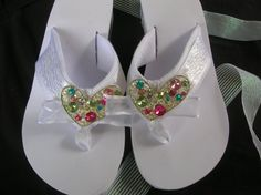 White Platform Flip Flops with White Pattern Ribbon and Muli-Color Rhinestone Heart. Great For Weddings, Sweet Sixteen, Bat Mitzvah or a Party! Comfortable Wide Band!