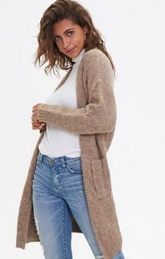 Cardigan Outfits, Knit Cardigan, Cold Weather Fashion, Winter Fashion, Women's Fashion, Christmas Fashion, Open Front Cardigan, Long A Line, Style Guides