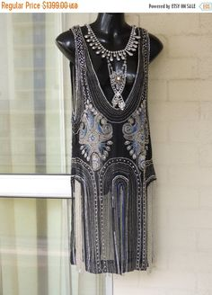 50% OFF Vintage RARE Authentic1920s Stunning Sheer Black Gold Rhinestone  Beaded Flapper Tabard Overlay Dress NEAR Mint Condition Made in Fr by GlamourZoya on Etsy