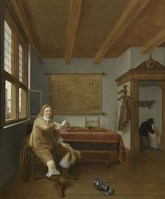 """""""The Empty Wineglass [The interior of a Dutch house with a seated cavalier holding an upturned glass]"""" by Isaac Koedijck (Dutch) 1648 oil on panel. In the collection of Middlebury College Museum of Art, Middlebury, VT. It's no wonder the man in this painting has an empty glass: There's a guy in the stairway sneaking a kiss with (presumably) the waitress."""