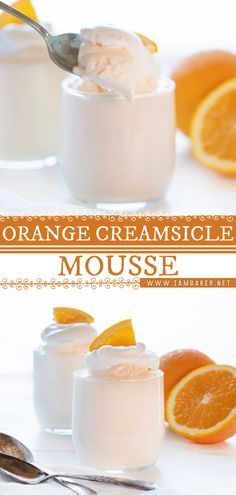This dreamy Orange Creamsicle Mousse is a spring dessert recipe that is easy to put together and always a crowd pleaser! These little dessert cups are light and fresh and absolutely perfect for spring! Pin this spring food idea. Fancy Desserts, Sweet Desserts, Elegant Desserts, Desserts For A Crowd, Beautiful Desserts, Healthy Desserts, Mousse Dessert, Dessert Cups, Fruit Dessert