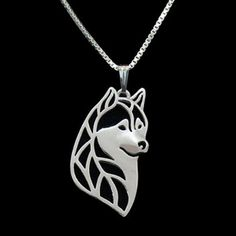Alaskan Malamute Husky Dog Lover Laser Cut Silhouette Silver Pendant Necklace  Price: 8.50 & FREE Shipping  #petlovers #pawprints #doglovergifts