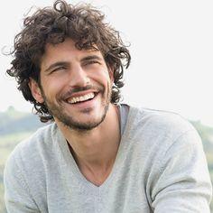 curly hair thin beard men look