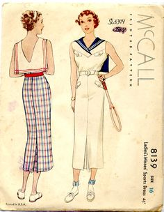 Sailor chic? #vintage 30s style sewing pattern casual sports wear sailor dress white blue red long tennis shoes low back belt fashion style color illustration print ad