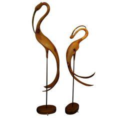 Pr Hand Carved Large Crane's,with Brass beaks on bronze support wooden base Bird Statues, Angel Statues, Garden Statues, 17th Century Art, Mid Century, Japanese Crane, Crane Bird, Old Cemeteries, Buddhist Art