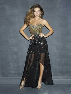 MZ0379 Free Shipping High Low Strapless Beaded and Sequined Chiffon Prom Dresses 2014 Hot Selling  $129.99