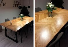 Hjemmelavet sildebensbord Diy Table, Dining Table, Wood Table Design, Beginner Woodworking Projects, Cozy Room, Diy Home Crafts, Diy Wood Projects, Recycling Projects, Furniture Inspiration